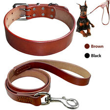 Brown Best Leather Dog Collars and Leashes Set for Small to Large Dogs Walking