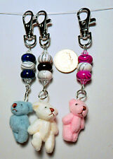 Cute jointed bear bag charm - pink, ivory white, blue