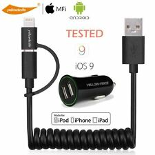 iPhone 6S,5S,5C,5,iPad MFI Coiled Cable Lightning Micro USB  2 Port CAR CHARGER