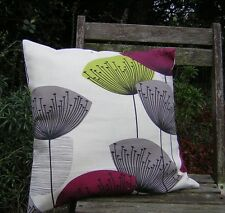 SANDERSONS 'DANDELION CLOCKS' CUSHION COVERS BLACKCURRANT & LIME