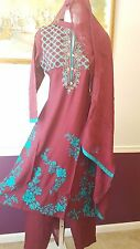 PAKISTANI INDIAN Linen SHALWAR KAMEEZ EMBROID DESIGNER 3PC SUIT