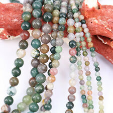 1 Bunch India Agate Round Loose Bead Pendant Necklace Jewelry Making Supplies