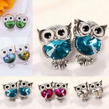 Fashion Simple Vintage Crystal Owl Ear Stud Earrings Women Jewelry Gift Hot