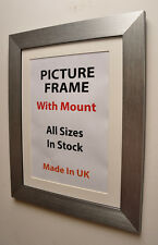 large silver picture frame with choice of Ivory,Black or White Mount all sizes.