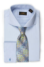 Dress Shirt by Steven Land Spread Collar  French Cuff-Blue-DW1619-BL