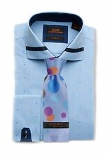 Dress Shirt by Steven Land Spread collar  French Cuff- Blue/Navy Trim -TA1636-BL
