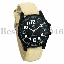 Military Army Big Dial Analog Mens Womens Canvas Band Sport Quartz Wrist Watch