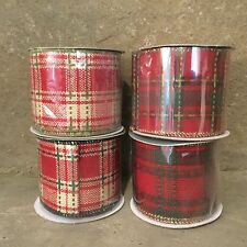 Gisela Graham red tartan wired ribbon 3m roll four designs