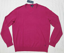 FACONNABLE Mens TRIMMED COLLAR Cranberry Color Wool V-Neck Sweater Size XL, 2XL