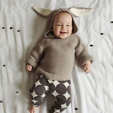 Baby Boys Girls Clothing Long Sleeve Hooded Rabbit Pullover Kids Knitted Sweater