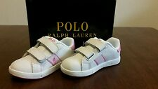 Polo Ralph Lauren White and Pink Courtster EZ Laces ALL Toddler Sizes 1KIDS BNIB