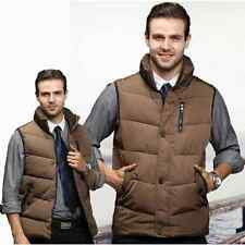 Mens Winter Warm Cotton Stand Collar Business Waistcoat Quilted Jacket Vest Tops