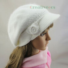 Women Lady Brim Visor Beanie Winter Cap 3D Flower Rabbit Fur Soft Wool Knit Hat