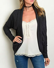 Womens Open Front Cardigan Knit Sweater Charcoal Grey - Size Large