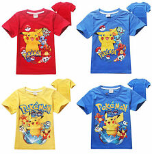 Pokemon Go Toddler Kids Boys Girls Short Sleeve T-Shirt Casual Tops Clothes 3-8Y