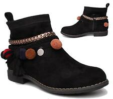 LADIES BLACK FAUX SUEDE ZIP ANKLE POM POM LOW HEEL CHELSEA ANKLE BOOTS SHOES