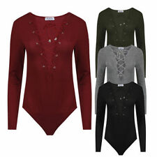 Ladies Womens Celebrity Style Knitted Ribbed Deep V Neck Lace up Front Bodysuit