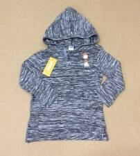NWT Gymboree Boys Hooded Henley Shirt Striated Marled Black Gray Size 6 8 & 10