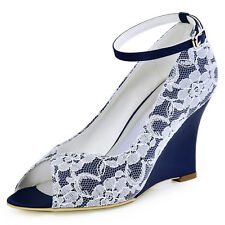 WP1415 Peep Toe Wedges Buckle Strap Lace Satin Evening Party Dress Shoes AU 4-11
