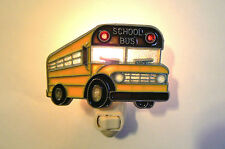 "STAINED GLASS STYLE  ""SCHOOL BUS  ""  NIGHT LIGHT"