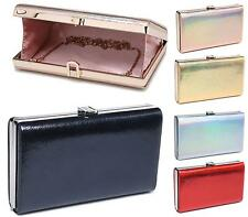 Ladies Bridal Metallic Snakeskin Hardcase Evening Party Small Clutch Bag