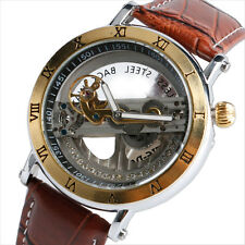 Fashion Luxury Auto Mechanical Leather Band Military Sport Men's Wrist Watch