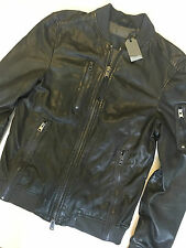 "ALL SAINTS LEATHER ANTHRACITE ""DEBEAUVOIR"" BOMBER JACKET COAT - XS S - NEW TAGS"