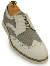GBX Mens White Grey Wing Tip Dress Casual Oxford Lace Up Trending Comfort Shoe