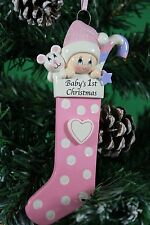 Personalised Family Christmas Tree Decoration Baby1st Stocking Red , Blue , Pink