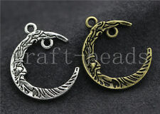 30/150pcs Tibetan Silver Exquisite two-sided Moon Charms Connectors DIY 26x21mm