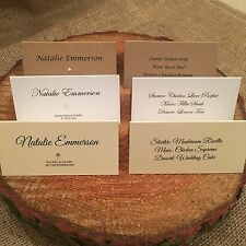 Personalised place cards / name cards white ivory kraft with guests menu choice