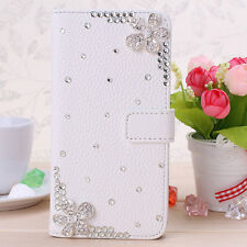 3D Crystal Magnetic Diamonds cherry blossom PU leather wallet flip case cover #G