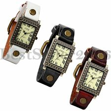 Retro Women Ultra-thin Quartz Watches Square Dial Leather Band Analog WristWatch