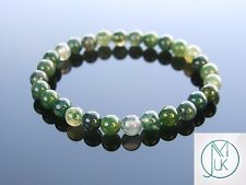 Moss Agate Natural 6mm Gemstone Bracelet 7-8'' Elasticated Healing Stone Chakra