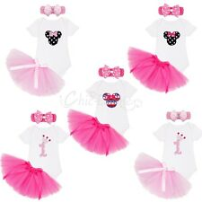 Infant Baby Girls Pink Minnie Mouse Romper Christmas Tutu Skirt Dress Clothes