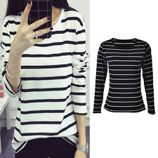 Women Long Sleeve Loose Blouse Stripe Pattern Cotton Blend O-neck Tops HU