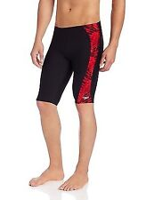 Speedo Boys/Men's Endurance+ Toxic Tie Dye Jammer Swimsuit RED 22-28