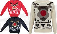 Kids Boys Girls Christmas Jumper SALE Rudolph Reindeer Traditional Knitted Gift
