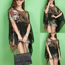 Stylish Women Floral Batwing Sleeve Blouse Loose Chiffon Shawl Shirt Cape Tops