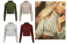 Women's High Polo Neck Chunky Cable Knitted Jumper Crop Pullover Sweater 8-14