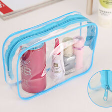 Clear Transparent Plastic PVC Travel Makeup Cosmetic Toiletry Zip Bag Pouch HU