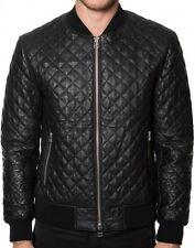 MENS LEATHER JACKET COAT GENUINE LAMBSKIN REAL LEATHER BOMBER BIKER QUILTED