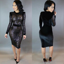 New Sexy Womens Backless Geometric Sequin Bodycon Jumpsuit Romper Long Trousers