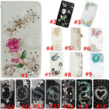 Magnetic Bling Luxury Diamonds Crystal PU Leather wallet flip Slots Cover Case I