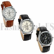 Men's Casual Business Round Dial Quartz Movement Leather Band Analog Wrist Watch