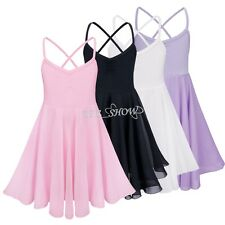 Kid Girls Chiffon Leotard 2-10 Ballet Dance Dress Dancer Halter Skirt Dancewear