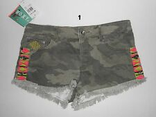 ROXY JUNIOR GIRLS BREAKING CAMO JEAN SHORTS NWT