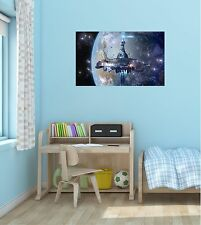 Landscape Space Mural Scene SPACE STATION ORBIT #1 Wall Graphic Decal Sticker