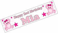 PERSONALISED BANNER NAME AGE PHOTO BIRTHDAY PARTY teddy pink 1st 2nd 3rd 4th D1
