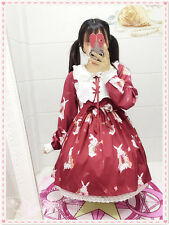 Sweet Lolita Vintage Rabbit Printing Gothic Long Sleeve Dress Small Fresh#5-1-10